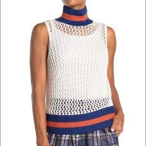 Burberry Trim Sleeveless Sweater